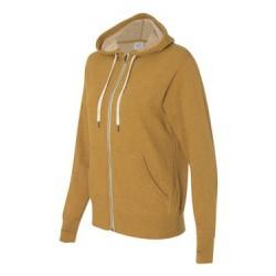Unisex French Terry Heathered Hooded Full-Zip Sweatshirt