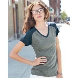 Juniors' Triblend V-Neck Raglan T-Shirt