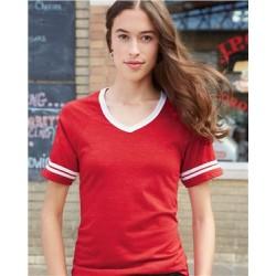 Juniors' Triblend V-Neck Ringer T-Shirt